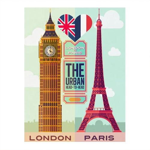 Placa Decorativa London/Paris Grande em Metal -  40x30 cm