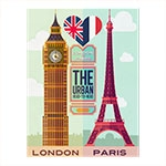 Placa Decorativa London/Paris Grande em Metal -  40x30 cm