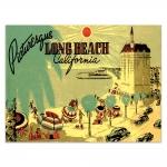 Placa Decorativa Long Beach Amarela Média em Metal - 30x20 cm