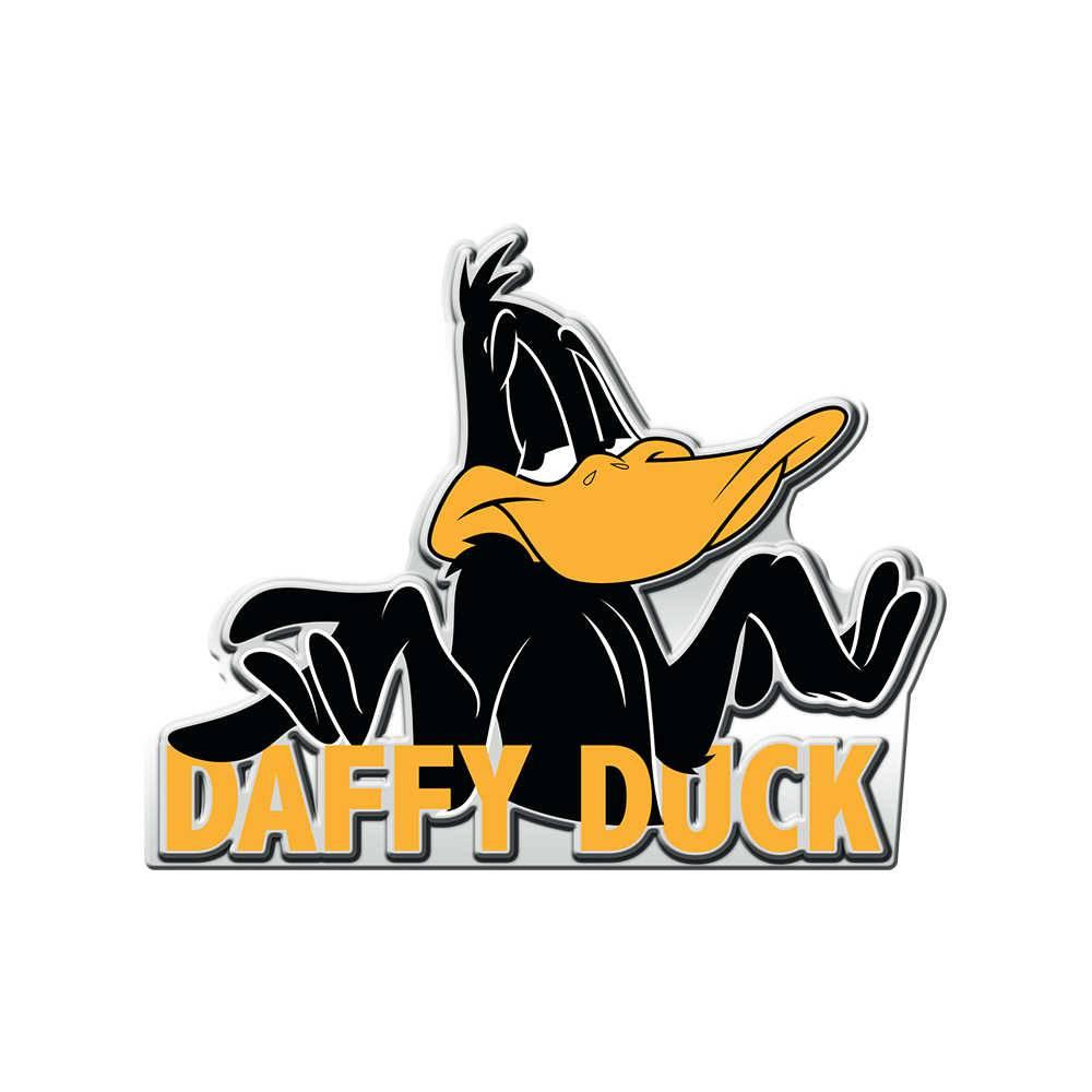 Placa Decorativa Looney Tunes Daffy Duck Preto em Metal - 35x28 cm