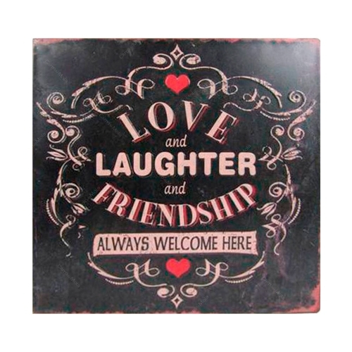 Placa Decorativa Love And Laughter em Metal - 26,5x26,5 cm