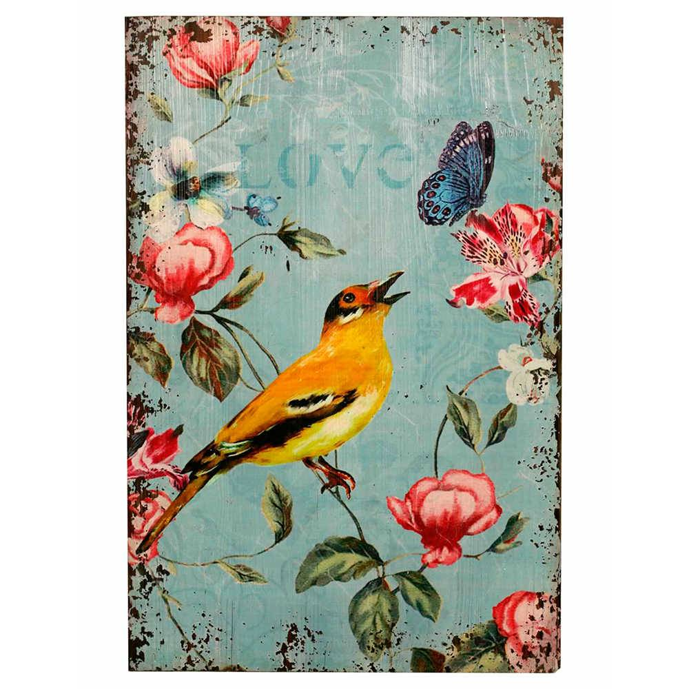 Placa Decorativa Love Bird em Metal - 60x40 cm