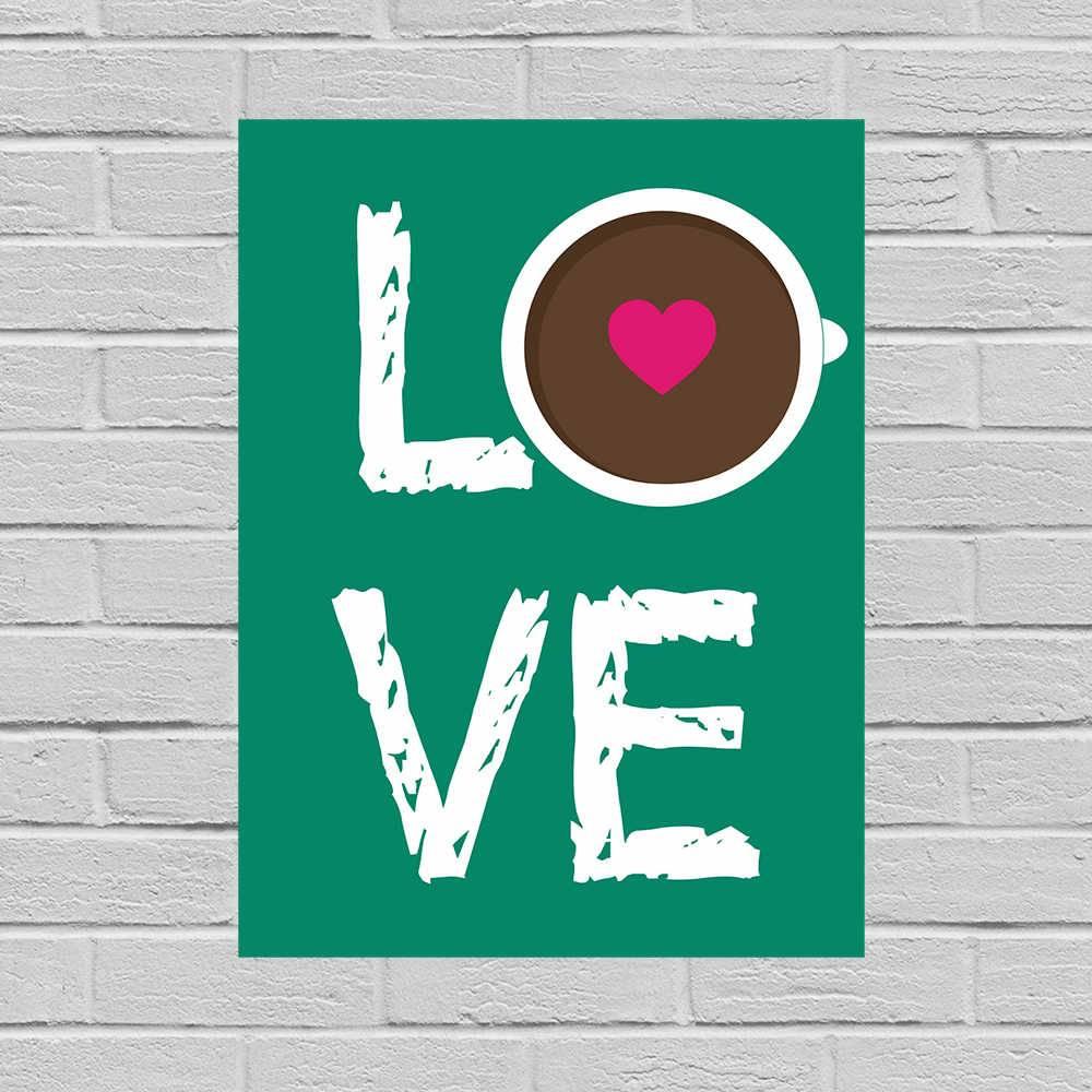 Placa Decorativa Love Café com Impressão Digital em Metal - 40x30 cm