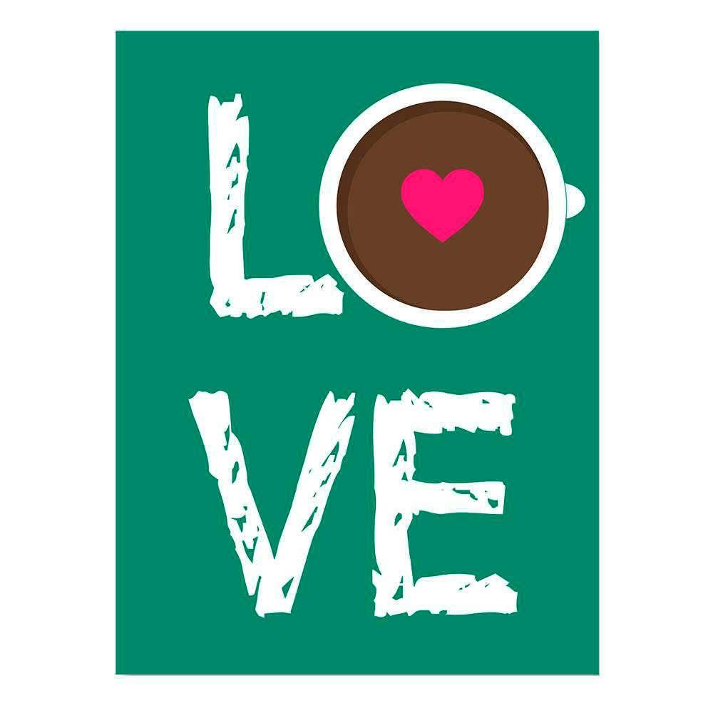 Placa Decorativa Love Café Verde com Impressão Digital em Metal - 30x20 cm