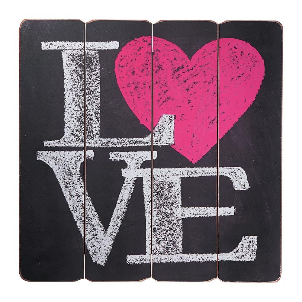Placa Decorativa Love Coração Rosa Preto em MDF - 40x40 cm