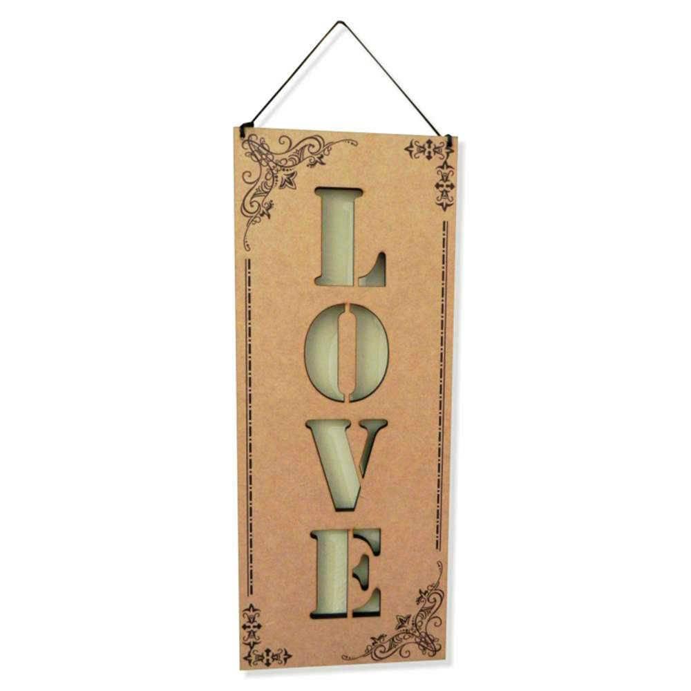 Placa Decorativa Love em MDF Vazado - 40x14 cm