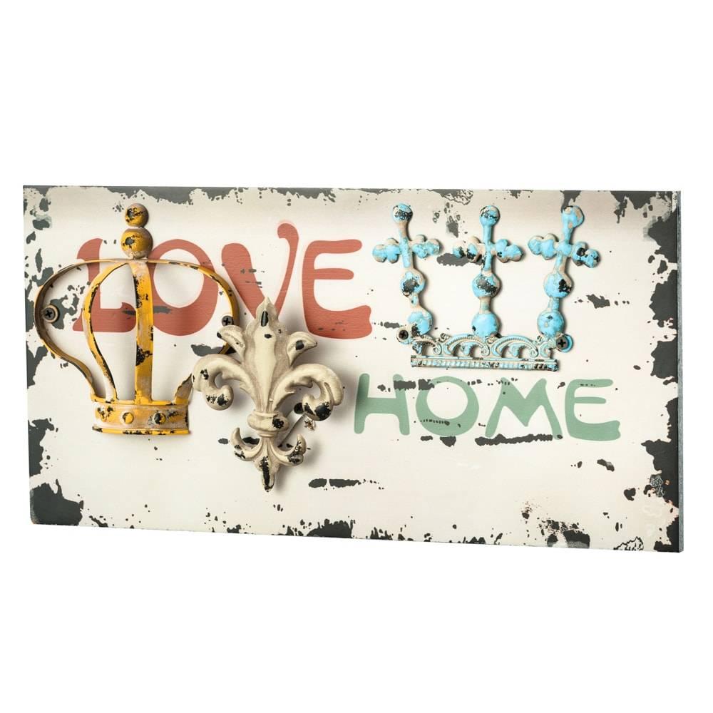 Placa Decorativa Love em Metal e Madeira - Lyor Classic - 42x21 cm