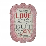 Placa Decorativa Love Story em Metal - 40x26 cm
