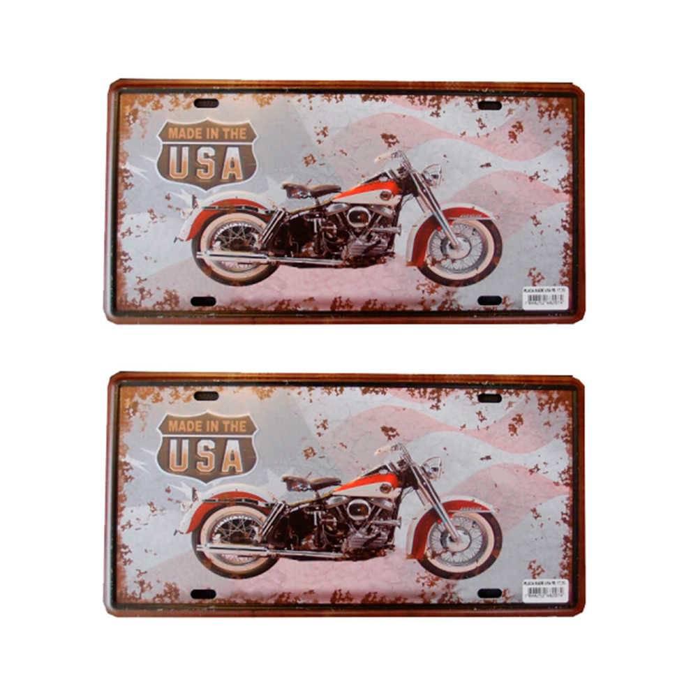 Placa Decorativa Made in Usa - 2 Peças - em Metal com Relevo - 30x15 cm