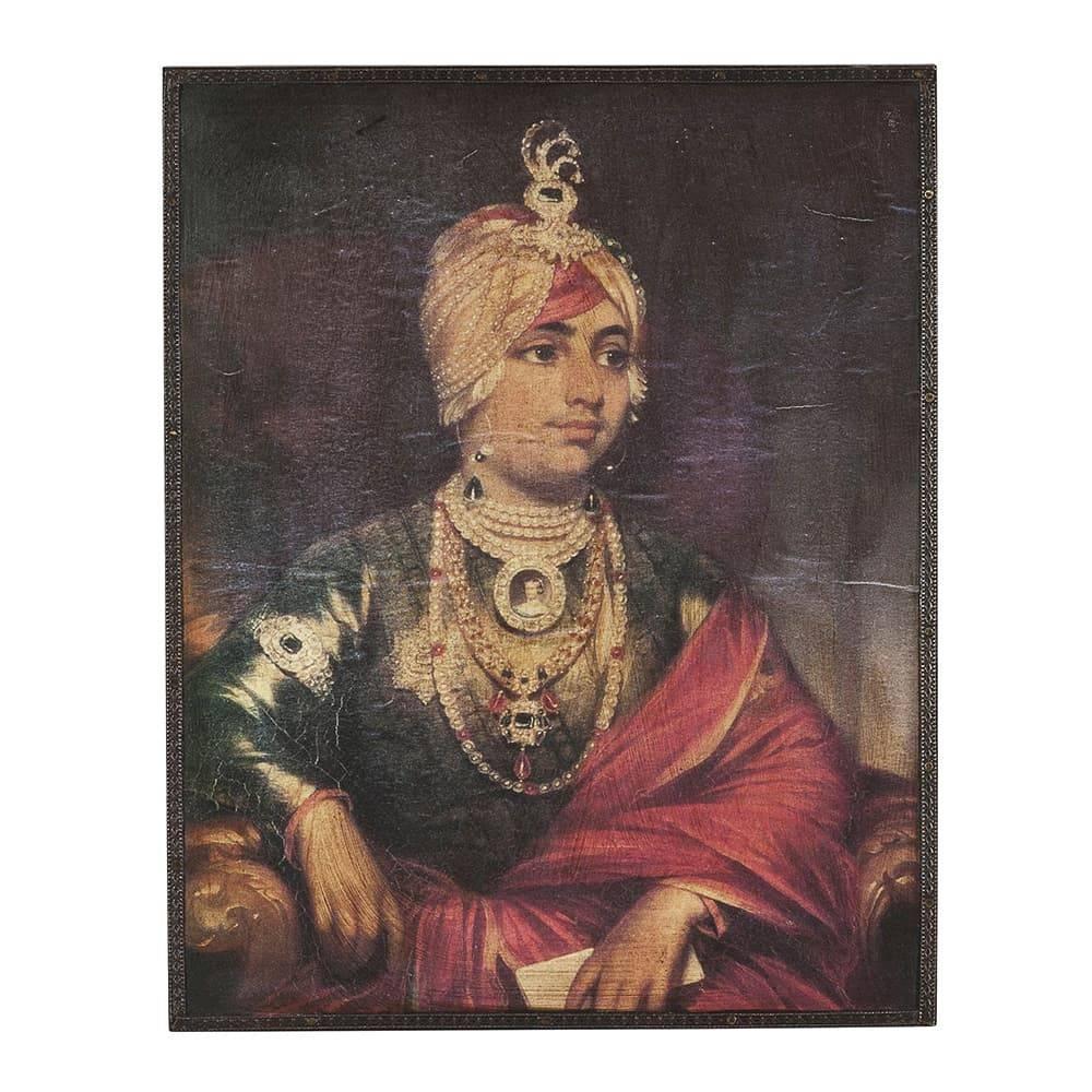 Placa Decorativa Maharaja Dalip Singh em Metal - 25x20 cm
