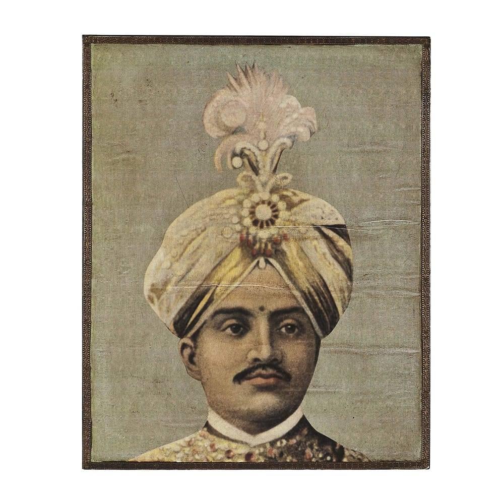 Placa Decorativa Maharaja Ranjit Singh Sépia em Metal - 25x20 cm