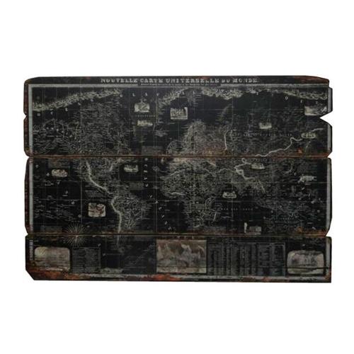 Placa Decorativa Mapa Black em Madeira - 120x78 cm