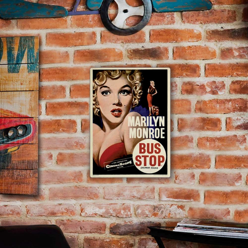 Placa Decorativa Marilyn Bus Stop Grande em Metal - 40x30 cm
