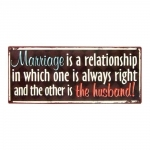 Placa Decorativa Marriage Efeito Shabby Chic em Metal