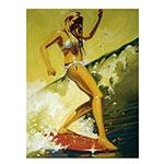 Placa Decorativa Menina Surfista Grande em Metal - 40x30cm