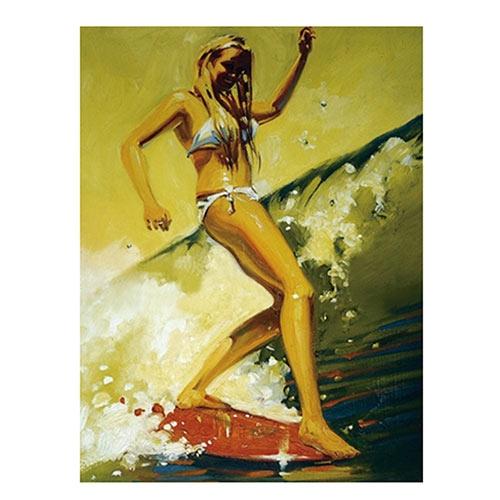 Placa Decorativa Menina Surfista Média em Metal - 30x20cm