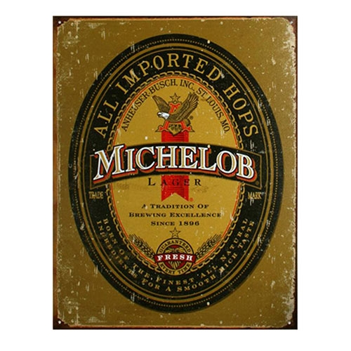 Placa Decorativa Michelob Grande em Metal - 40x30cm