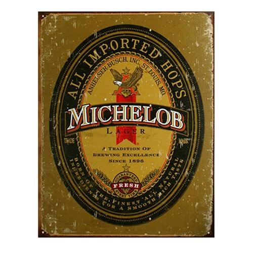 Placa Decorativa Michelob Média em Metal - 30x20cm