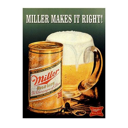 Placa Decorativa Miller Caneco Média em Metal - 30x20cm