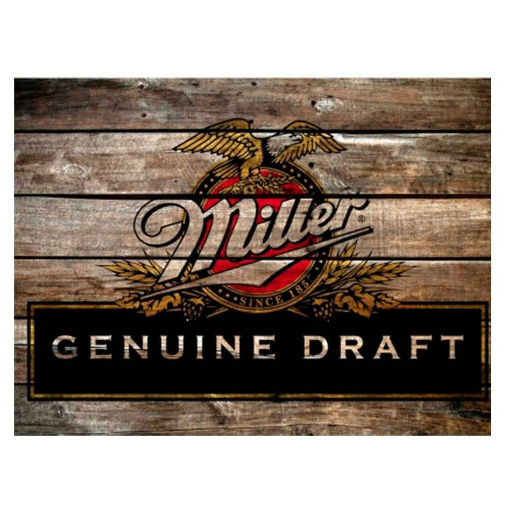Placa Decorativa Miller Genuine Draft com Impressão Digital em Metal - 30x20 cm