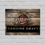 Placa Decorativa Miller Genuine Draft com Impressão Digital em Metal - 40x30 cm