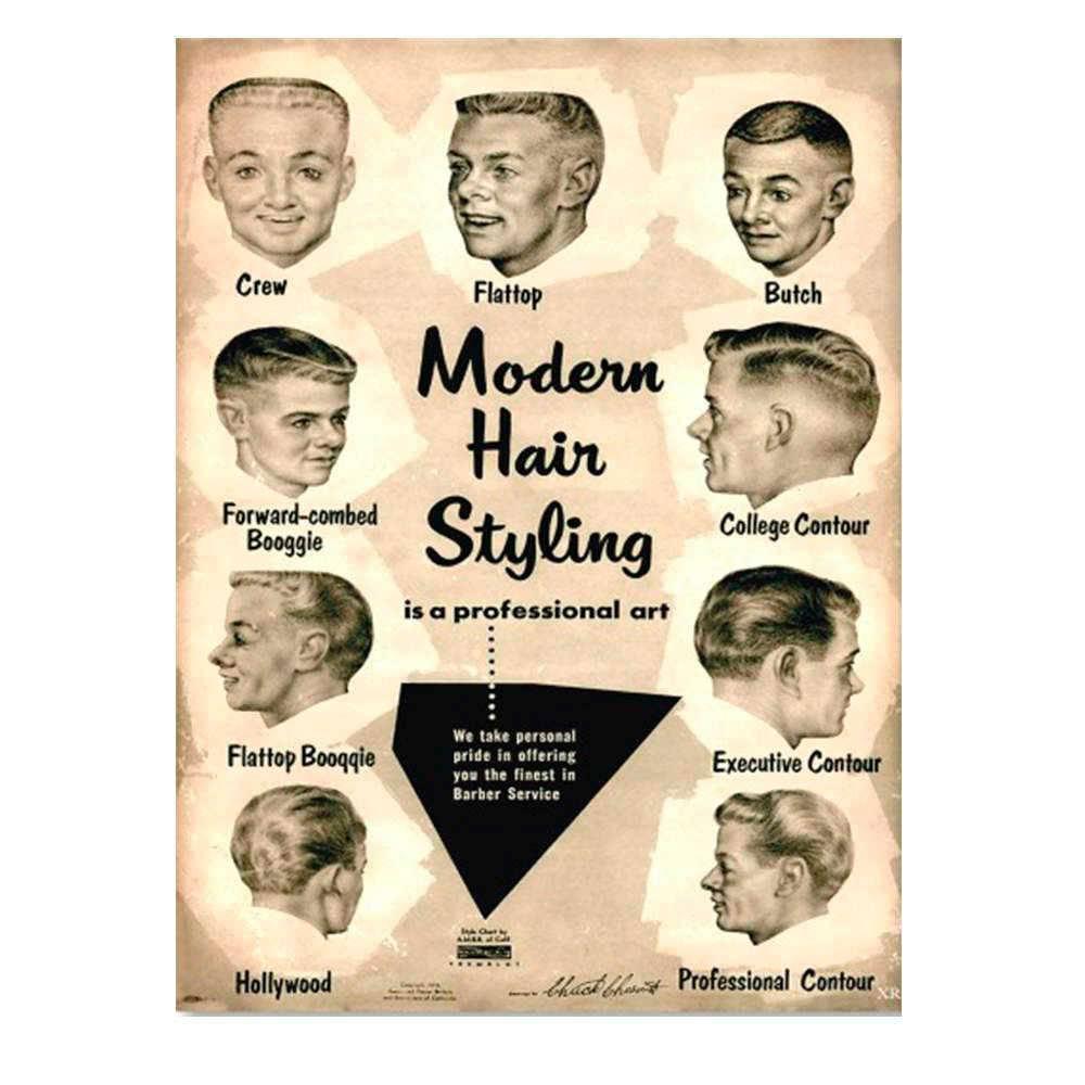 Placa Decorativa Modern Hair Vintage com Impressão Digital em Metal - 30x20 cm