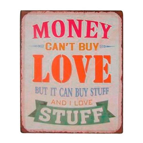 Placa Decorativa Money Love em Metal -35x26 cm