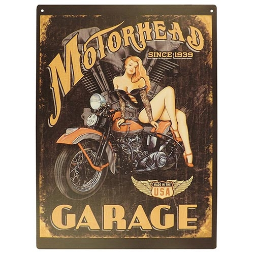 Placa Decorativa Motorhead Garage Grande em Metal - 40x30cm