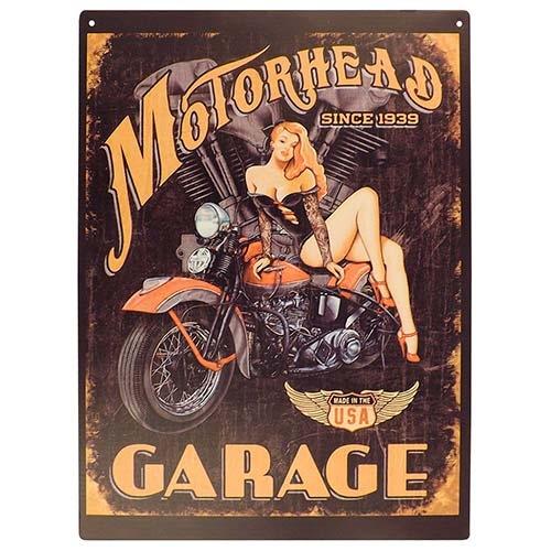 Placa Decorativa Motorhead Garage Média em Metal - 30x20cm