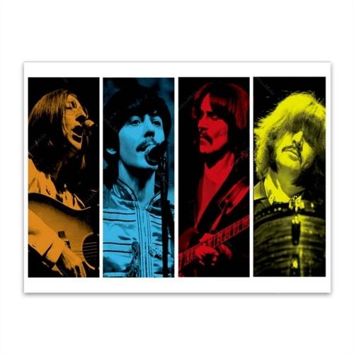 Placa Decorativa Músicos The Beatles Grande em Metal - 40x30 cm