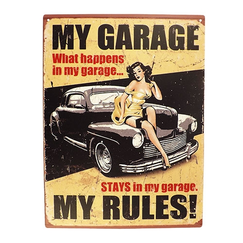 Placa Decorativa My Garage My Rules Grande em Metal - 40x30cm