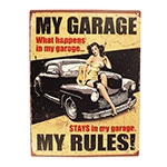 Placa Decorativa My Garage My Rules Média