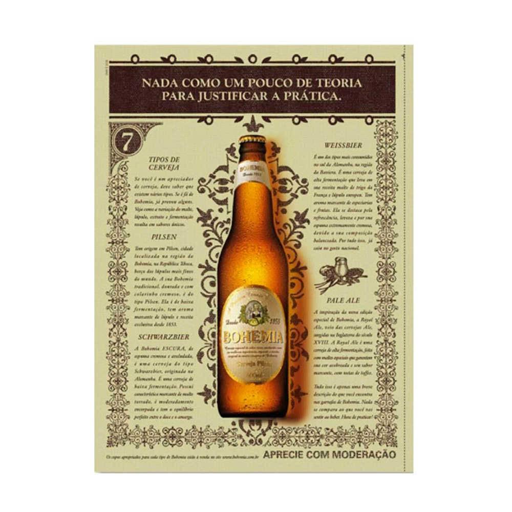Placa Decorativa Nada como Bohemia com Impressão Digital em Metal - 30x20 cm