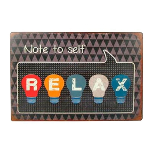 Placa Decorativa Note To Self Relax em Metal - 35x26 cm