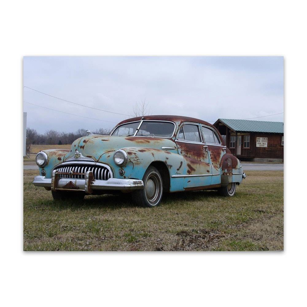 Placa Decorativa Old Blue Car em Metal - 40x30cm