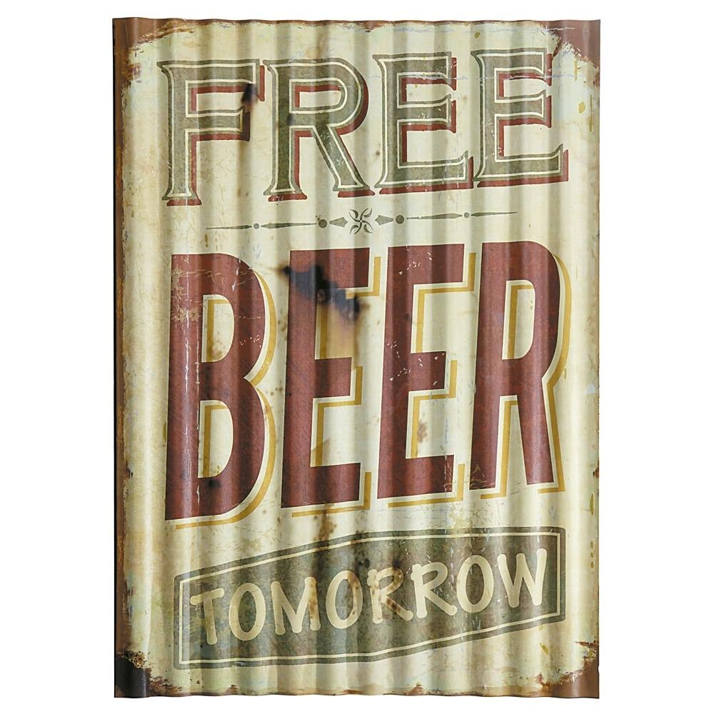 Placa Decorativa Ondulada Free Beer Verde em Metal - 40x29 cm