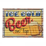 Placa Ondulada Ice Cold Beer on Tap Amarela em Metal
