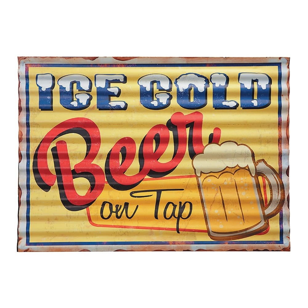 Placa Decorativa Ondulada Ice Cold Beer on Tap Amarela em Metal - 40x29 cm