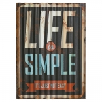 Placa Decorativa Ondulada Life is Simple Preto em Metal