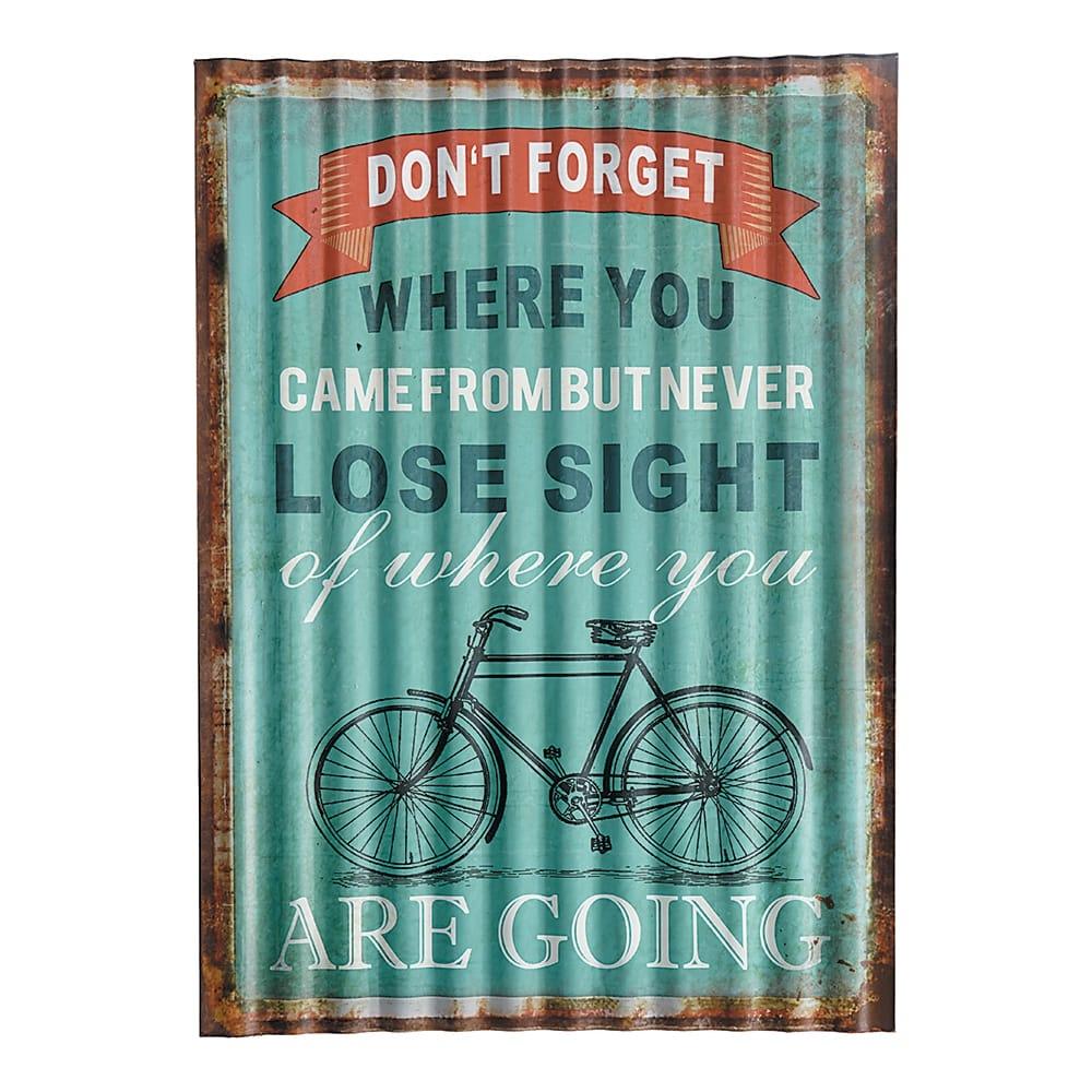Placa Decorativa Ondulada Não Esqueça Verde em Metal - 40x29 cm