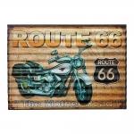 Placa Decorativa Ondulada Route 66 Bege em Metal - 40x29 cm