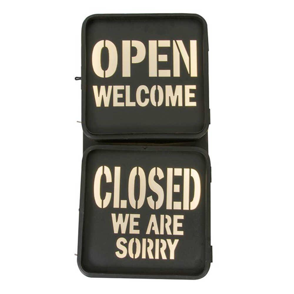Placa Decorativa Open Close - em Metal - com Luzes - 60x27 cm