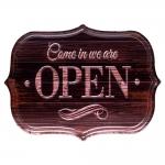 Placa Decorativa Open Efeito Madeira em Metal - 33x25 cm