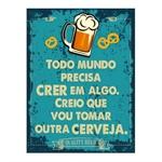 Placa Decorativa Outra Cerveja Grande em Metal - 40x30 cm