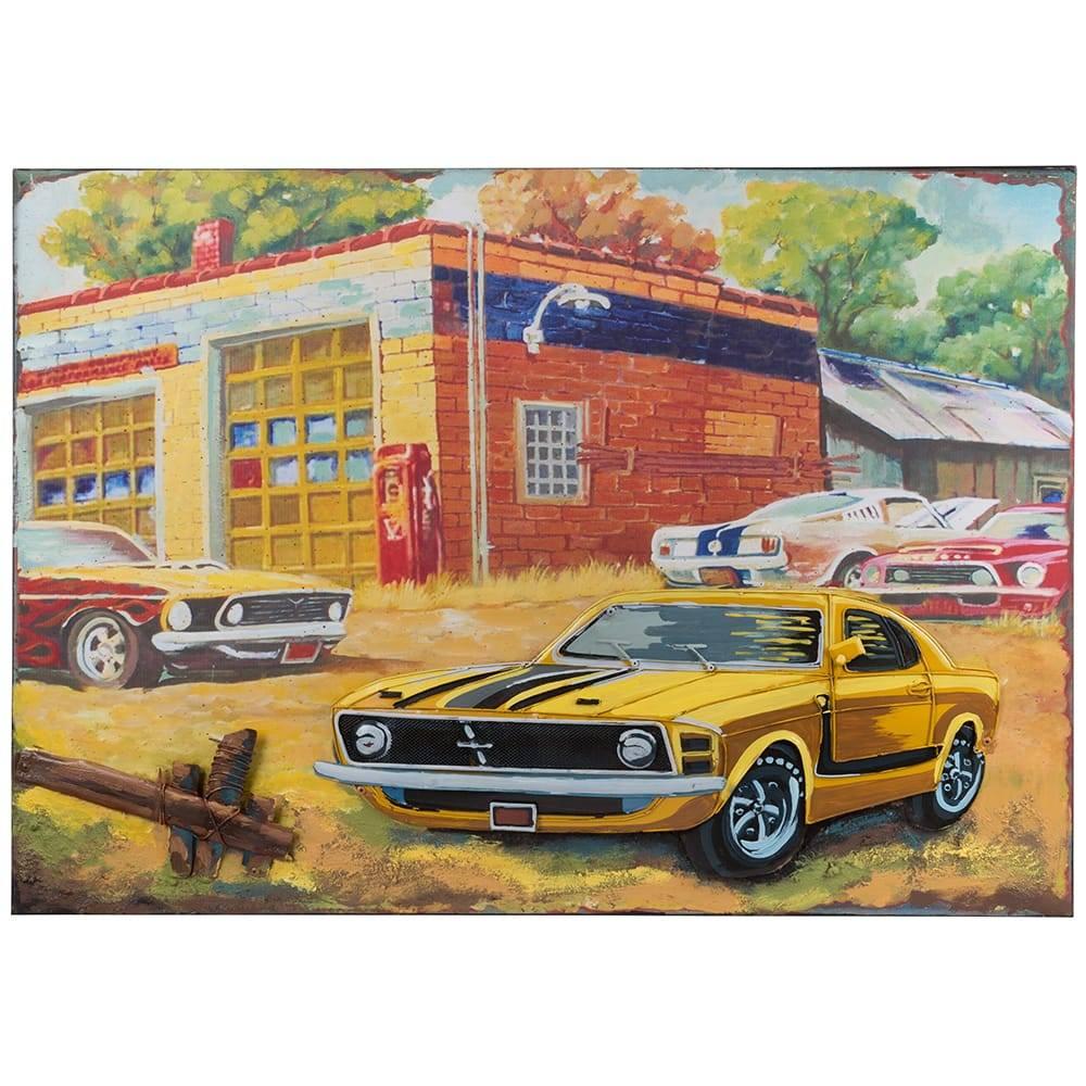 Placa Decorativa Painting Frame Cars By The Building Colorido em Ferro - 70x50 cm