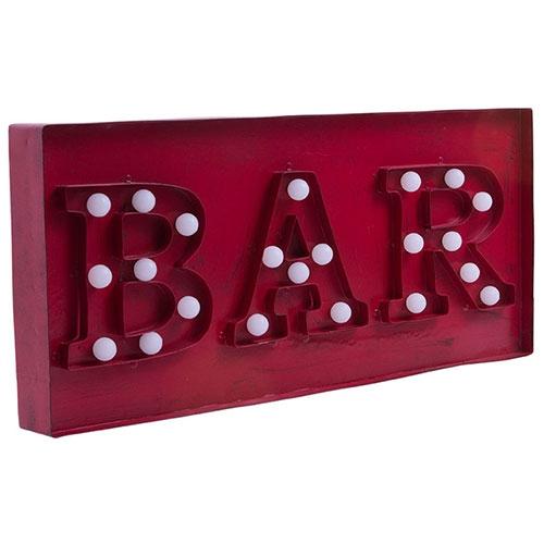 Placa Decorativa Palavra Bar com Leds em Metal - 55x24 cm