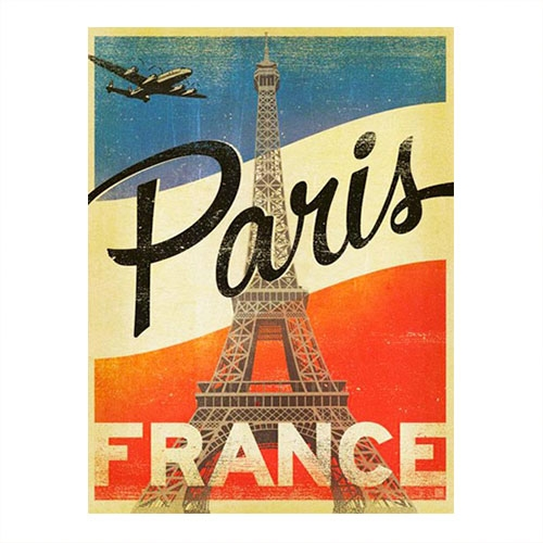 Placa Decorativa Paris Grande em Metal -  40x30 cm
