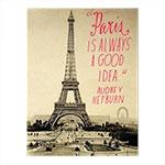Placa Decorativa Paris Preto/Branco Grande em Metal -  40x30 cm