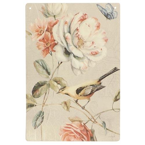 Placa Decorativa Pássaro Amarelo Grande em Metal - 40x30cm