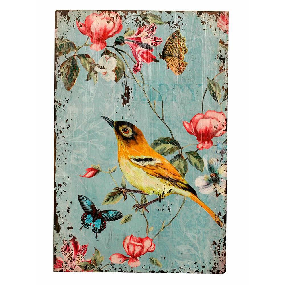 Placa Decorativa Pássaro Amarelo em Metal - 60x40 cm